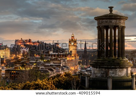 EDINBURGH, SCOTLAND, UK - 16 MARCH 2016: Edinburgh city skyline viewed from Calton Hill. United Kingdom. - stock photo