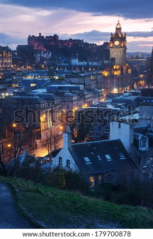 Edinburgh skyline from Calton Hill - stock photo
