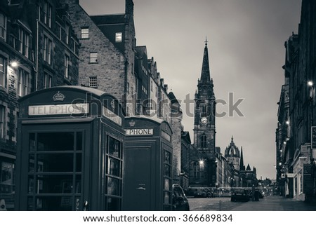 EDINBURGH, UK - OCT 8: City street view on October 8, 2013 in Edinburgh. As the capital city of Scotland, it is the largest financial centre after London in the UK. - stock photo