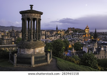 Edinburgh under the moonlight, Scotland, UK - stock photo
