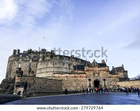 EDINBURGH, UNITED KINGDOM - APRIL 15, 2015: panorama image of Edinburgh castle, Scotland, UK. The castle is in the care of Historic Scotland and is Scotland's most-visited paid tourist attraction. - stock photo