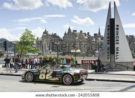 EDINBURGH, UNITED KINGDOM - JUNE 8: car taking part in the Gumball 3000 event on June 8, 2014 in Edinburgh, United Kingdom. Gumball 3000 is an annual British 3,000 mile rally event on public roads. - stock photo
