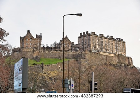 Edinburgh, View of the city, several monuments and the Castle, Edinburgh, Scotland