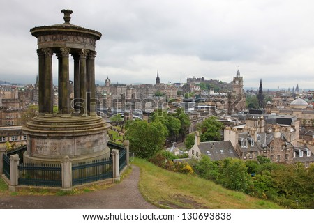 Edinburgh with Castle, Balmoral Hotel and Scott Monument, UK