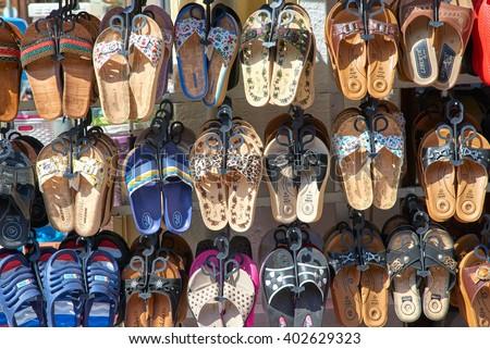 edirne tukkey 02042016 turkish summer footwear stock photo. Black Bedroom Furniture Sets. Home Design Ideas
