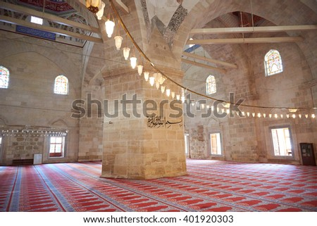 EDIRNE - TURKEY, 02.04.2016: Interior of the Edirne Old Mosque Samii 1437- 1447. The Old Mosque is an early 15th century Ottoman mosque in Edirne, Turkey