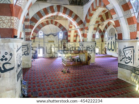 EDIRNE - TURKEY, JULY 12:Interior of the Edirne Old Mosque on july 12, 2016. The Old Mosque is an early 15th century Ottoman mosque in Edirne, Turkey - stock photo
