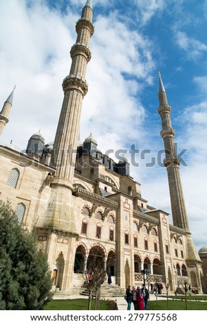 EDIRNE, TURKEY, - MARCH 30, 2015: Outside view of Selimiye Mosque built in 1575 by Architect Sinan with the request of Suleyman the Magnificent. - stock photo