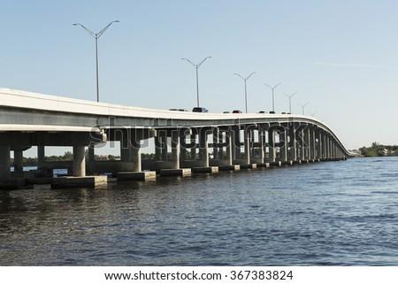 Edison Bridge in Fort Myers, Southwest Florida. - stock photo