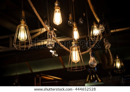Edison light bulb decor glowing - stock photo