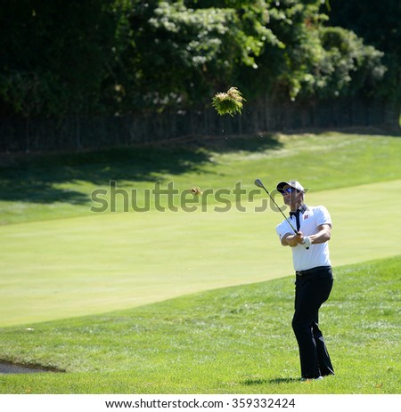 EDISON,NJ-AUGUST 28:Adam Scott watches his shot during the second round of the Barclays Tournament held at the Plainfield Country Club in Edison,NJ,August 28,2015. - stock photo