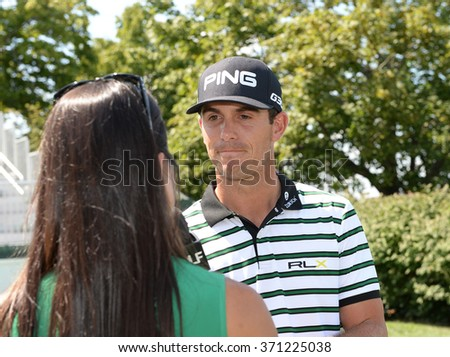 EDISON,NJ-AUGUST 26:Billy Horschel talks to the media during the Barclays Pro-Am held at the Plainfield Country Club in Edison,NJ,August 26,2015. - stock photo