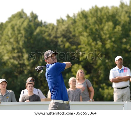 EDISON,NJ-AUGUST 25:Brendan Steele watches his shot during the Barclays Tournament practice round held at the Plainfield Country Club in Edison,NJ,August 25,2015.