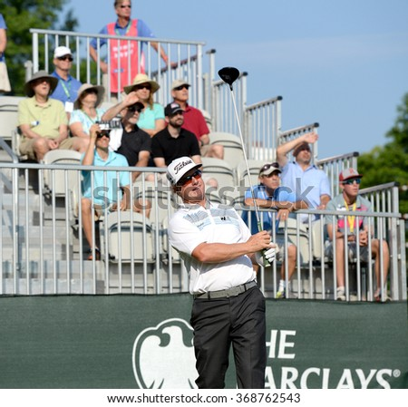 EDISON,NJ-AUGUST 30:Charley Hoffman watches his shot during the final round of the Barclays Tournament held at the Plainfield Country Club in Edison,NJ,August 30,2015.