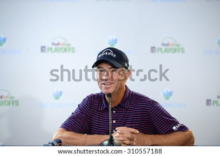 EDISON,NJ-AUGUST 26: Davis Love III answers questions from the press at the Barclays 2015 Pre-tournament press conference.Edison,NJ,August 25,2015. - stock photo
