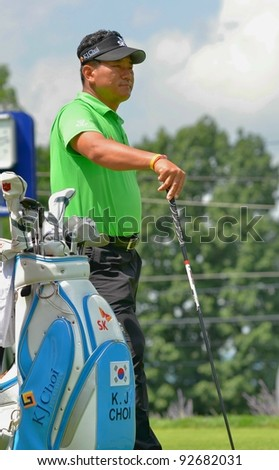 EDISON,NJ-AUGUST 26:Golfer K.J. Choi waits at the 1st tee during the Barclays Tournament held at the Plainfield Country Club on August 26, 2011 in Edison, N.J. - stock photo