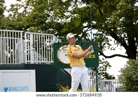 EDISON,NJ-AUGUST 26:Henrik Stenson watches his shot during the Barclays Pro-Am held at the Plainfield Country Club in Edison,NJ,August 26,2015.