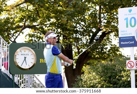 EDISON,NJ-AUGUST 26:Ian Poulter watches his shot during the Barclays Pro-Am held at the Plainfield Country Club in Edison,NJ,August 26,2015. - stock photo