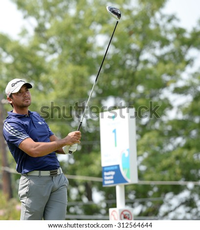 EDISON,NJ-AUGUST 30:Jason Day watches his shot from the 1st Tee during the final round of the Barclays Tournament held at the Plainfield Country Club in Edison,NJ,August 30,2015. - stock photo