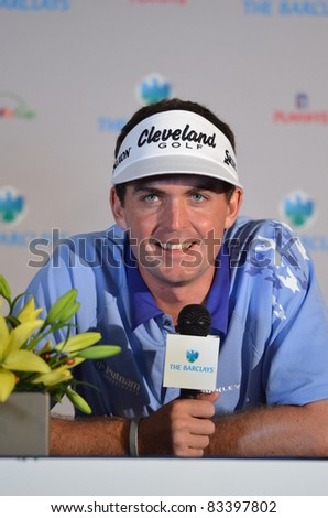 EDISON,NJ-AUGUST 23: Keegan Bradley answers questions from the press at the Barclays 2011 Pre-tournament press conference. Edison, NJ, August 23, 2011
