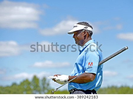 EDISON,NJ-AUGUST 28:Vijay Singh looks down the fairway during the second round of the Barclays Tournament held at the Plainfield Country Club in Edison,NJ,August 28,2015.