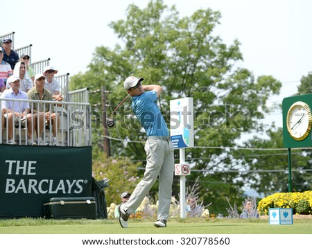 EDISON,NJ-AUGUST 30:Zach Johnson watches his shot from the 1st Tee during the final round of the Barclays Tournament held at the Plainfield Country Club in Edison,NJ,August 30,2015. - stock photo