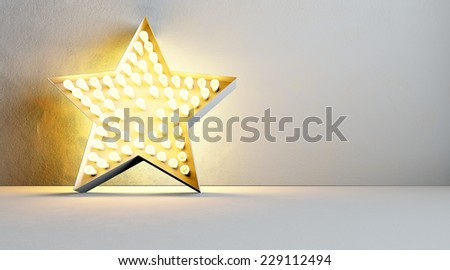 Edison retro light bulb in star - stock photo