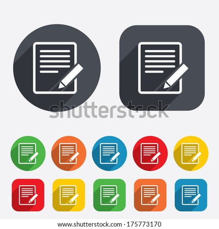 Edit document sign icon. Edit content button. Circles and rounded squares 12 buttons. - stock photo