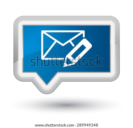 Edit email icon blue banner button - stock photo