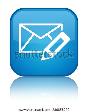 Edit email icon cyan blue square button - stock photo