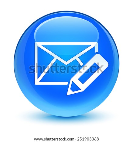 Edit email icon glassy blue button - stock photo