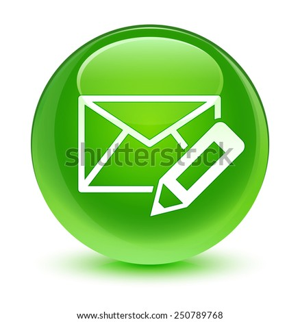 Edit email icon glassy green button - stock photo