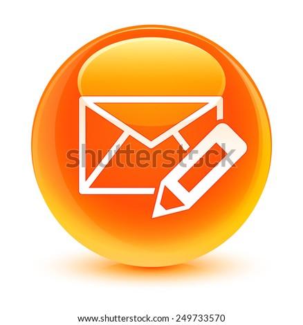 Edit email icon glassy orange button - stock photo