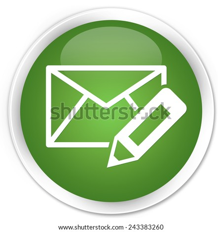 Edit email icon green glossy round button - stock photo