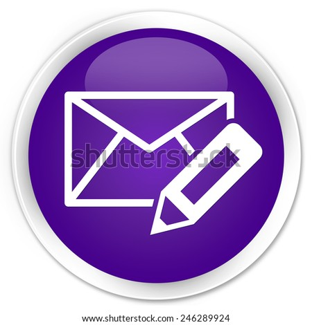 Edit email icon purple glossy round button - stock photo