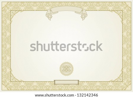 editable certificate template with ornamental border in modern style raster version