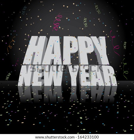 Editable Happy New Year greeting card design. jpg. - stock photo