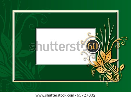 Editable illustration of a green and golden congratulations card for 60th anniversary, jubilee, wedding or birthday - stock photo