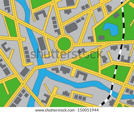 editable map of the area with roads, buildings, river and railway - stock photo