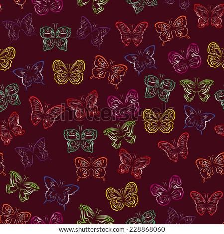 Editable seamless pattern with colorful gradient butterflies on a background of dark cherry color