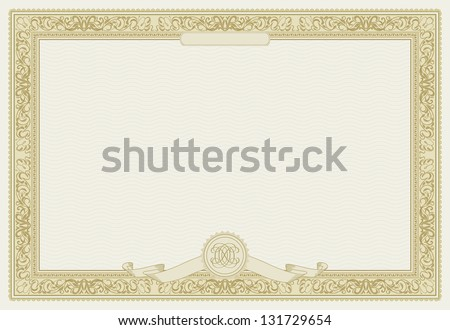 Editable vector certificate template with ornamental border. Raster version - stock photo