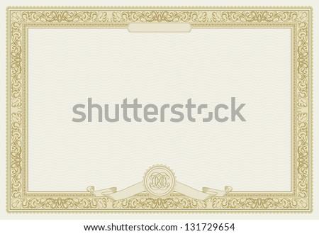 Editable Certificate Template Ornamental Border Modern Stock