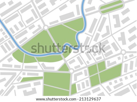 Editable vector street map of town.