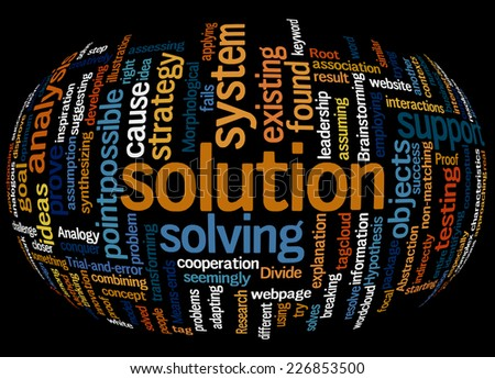 Edited Sphere Word Cloud Containing Words Related To Solution