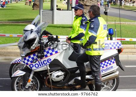 Editorial Australian motor bike cops - stock photo