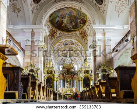 Editorial,22 December 2015: France:  Ebersmunster Abbey Cathedral majestic interior, baroque style, Alsace, France