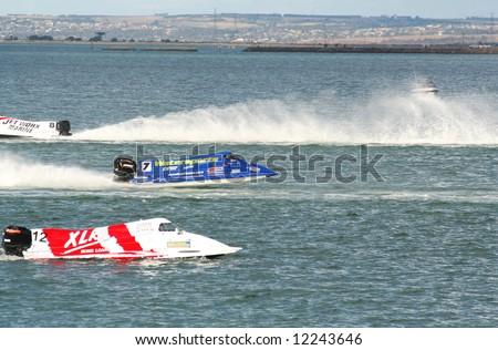 Editorial, formula 1 boats race at Geelong water front, Corio bay - stock photo