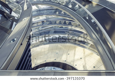 Editorial image. Germani, Berlin - January 22, 2011. Glass constructions Interior Architecture Of The German Parliament 'Reichstag' in Berlin - stock photo