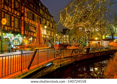 Editorial: 17th December 2016: Colmar, France. Wonderful Christmas highlighting in Colmar, Alsace, France. Street and houses decoration