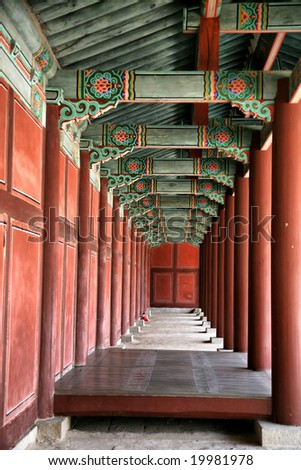 Editorial Use Only: Buddhist Temple Corridor(Release Information: Editorial Use Only. Use of this image in advertising or for promotional purposes is prohibited.) - stock photo